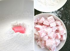 How to make Turkish Delight - Yuppiechef Magazine Drop Cookies, Xmas Cookies, Candy Recipes, Dessert Recipes, Halawa, Malva Pudding, Lebanese Cuisine, Fondant Cake Toppers, Turkish Delight