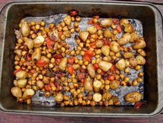 Roasted chickpeas, potatoes and tomatoes with sage and rosemary, add a little tumeric and cumin for extra herbal flavor and healing properties.