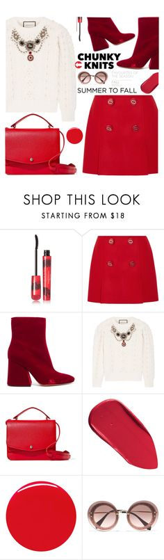"""Get Cozy: Chunky Knits"" by samra-bv ❤ liked on Polyvore featuring Elizabeth Arden, Prada, Maison Margiela, Gucci, Elizabeth and James, Bobbi Brown Cosmetics, Marc Jacobs and Miu Miu"