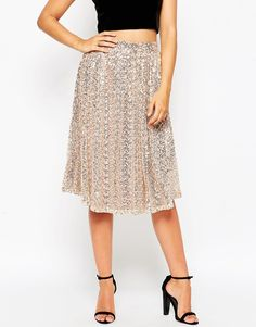 Image 4 ofLittle Mistress Full Midi Skirt in Sequins