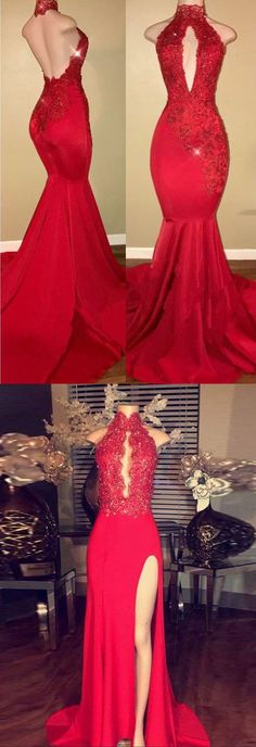 Sexy Prom Dresses,Halter Prom Gown,Mermaid Prom Dress,2018 Prom Dress,Lace Appliques Prom Dresses,Red Prom Dress #red #mermaid #sexy #evening #party #okdresses