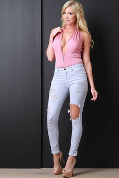 Free SH & Easy Returns! Shop Light Wash Distressed Skinny Jeans. These  jeans features distressed front, taper cut legs, and single button with zip fly closure.