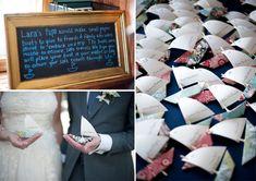Paper boat escort cards
