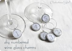 make your own wine glass charms via centsationalgirl.com. And then make them themed for a party, or with your friends names for the friends you usually drink with!!