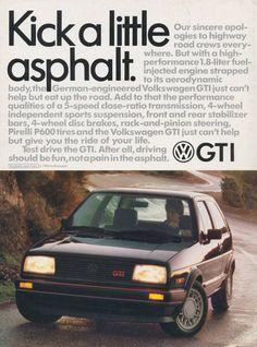 1986 VW GTI Car Ad Volkswagen Vintage Advertisement Print