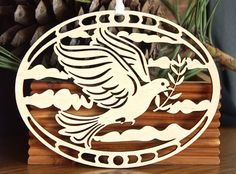 Peace Dove with olive branch ornament wood by CardNotions on Etsy, $5.25
