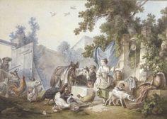 Jean Baptiste #HUET# (1745-1811) Scène paysanne Plume, encre et aquarelle, signée et datée 1782. Vendu 19 750€ le 13 novembre 2013 #dessin# #drawing#
