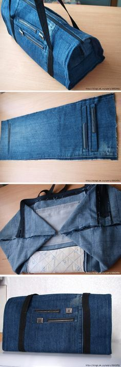 DIY sac de voyage en jean : une idée astucieuse pour recycler vos vieux pantalons.