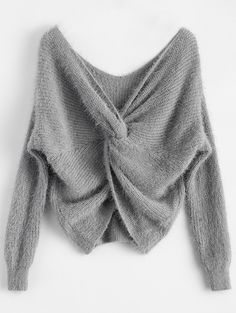 $19.99 Fluffy Twisted Chenille Sweater - GRAY ONE SIZE