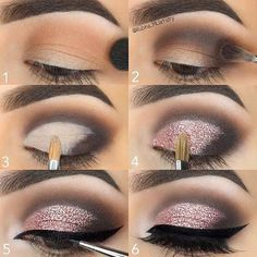 Step by Step Pink Glitter Eye Makeup Tutorial - Make-up Anleitung - Maquillaje Glitter Eye Makeup, Pink Makeup, Glitter Makeup Tutorial, Face Makeup, Makeup Eyeshadow, Eyeshadow Pencil, Makeup Tutorial Step By Step, Eyebrow Makeup, Smokey Eye With Glitter