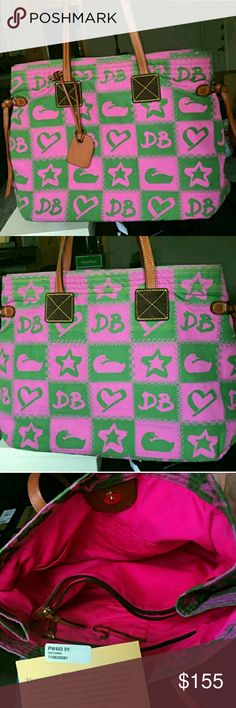 """Authentic Dooney & Bourke signature pink tote Beautiful pink and green bag Light weight Lots of pockets and space Inside zip divider  Pen holders Approx measurements 15"""" long by 12"""" high Smoke free home  Excellent pre loved condition  No holds PRICE FIRM unless bundled No lowballers Dooney & Bourke Bags Totes"""