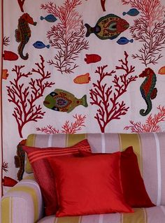 Aloha Collection by Pierre Frey 2014 Fabrics & Wallcoverings, Upholstary Fabrics Pierre Frey, Decor Interior Design, Interior Decorating, Z Wallpaper, Custom Carpet, Red Design, New Room, Decoration, Bold Colors