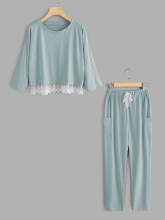 SheIn offers Lace Hem Pullover Pajama Set & more to fit your fashionable needs. Cute Lazy Outfits, Trendy Outfits, Night Suit For Women, Cute Pajama Sets, Cute Sleepwear, Girl Fashion, Fashion Dresses, Pajama Outfits, Pajama Pants