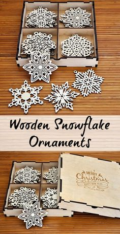 Awesome Christmas Wood Snowflakes! Laser engraved, Laser cut. Christmas Ornaments, Unique Christmas Ornaments #affiliate