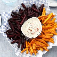Beet and Sweet Potato Fries - I love sweet potato fries, but beet fries sound really intriguing...