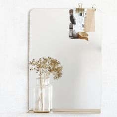 Miroir et tablette en acier brossé - Le Repère des Belettes