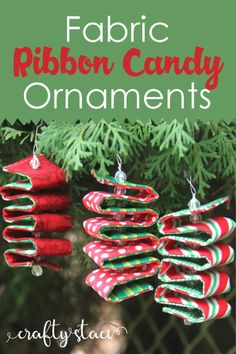 Fabric Ribbon Candy Ornaments From Crafty Staci Diyornaments Christmasornaments Holidayornaments Happy New Year Fabric Christmas Ornaments, Noel Christmas, Simple Christmas, Diy Ornaments, Beaded Ornaments, Quilted Fabric Ornaments, Homemade Christmas Ornaments, Fabric Christmas Decorations, Christmas Ideas