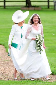 Lady Laura Marsham arrives at her wedding to James Meade at her family home in Gayton Hall, King's Lynn England on 14 Sep 2013