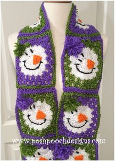 64595912eb11f Snowman Crochet Square And Scarf with Free Pattern