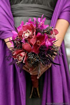 vibrant tones of plum and fuschia against grey bridesmaid dresses
