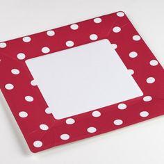 Assiettes carrées en carton mixy rouge fuchsia