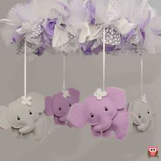 Elephant Mobile - Baby Mobile - Custom Mobile (not ready made) - Ships in Elephant Nursery Girl, Elephant Mobile, Baby Elephant, Felt Diy, Felt Crafts, Diy And Crafts, Baby Mädchen Mobile, Diy Bebe, Shower Bebe