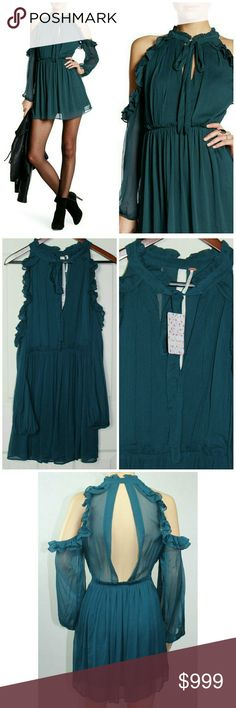 "Free People Cold Shoulder Dress Teal FP dress. NWT in excellent condition.  Color is teal. Lined. Side zip closure. V neck with tie closure. Ruffle details. Chiffon cold shoulders. Back cutout. Nylon/ rayon.  Machine washable.  Approx 32"" in length.   Thank you for visiting! Happy Poshing! 063 Free People Dresses"