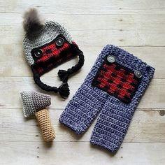 Crochet Baby Lumberjack Plaid Hat Beanie Pants Ax Set Newborn Infant Baby Photography Photo Prop Handmade Baby Shower Gift Present