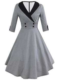 Vintage A Line Houndstooth Fit and Flare Flared Shawl Collar Three Quarter Length Sleeve High Waist Black and White Midi Length Shawl Collar Double-breasted Houndstooth Flare Dress - Kleider Pin Up Dresses, Fashion Dresses, Dresses For Work, Maxi Dresses, Awesome Dresses, Sleeve Dresses, Summer Dresses, Robe Swing, Swing Dress