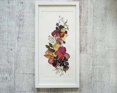 Floral art from real pressed flowers Framed art Original artwork Floral collage Botanical illustration Flowers picture Mixed media art