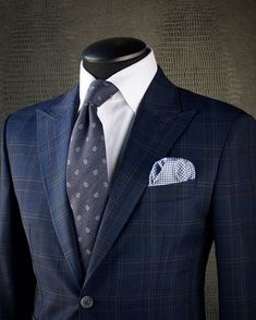 KING & BAY Tanzanite Blue Glen Check Suit, paired with a crisp white shirt and a charcoal micro paisley tie. Sharp Dressed Man, Well Dressed Men, Mens Fashion Suits, Mens Suits, Men's Fashion, Look Formal, Checked Suit, Suit And Tie, Gentleman Style