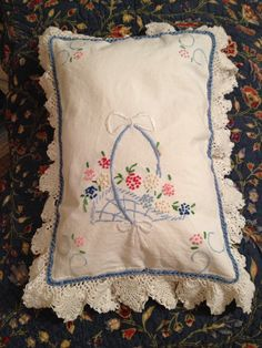 Heirloom pillow-I used 2 dresser scarves that my grandmother made, I made a pillow form and then crocheted them together. Heirloom pillow-I used 2 dresser scarves that my grandmother made, I made a pillow form and then crocheted them together. Embroidery Designs, Embroidery Transfers, Vintage Embroidery, Hand Embroidery, Machine Embroidery, Embroidery Stitches, Leather Embroidery, Embroidery Tattoo, Vintage Pillows