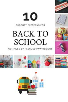 Back To School Crochet Patterns ⋆ Rescued Paw Designs Crochet by Krista Cagle