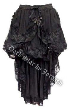 Dark Star Black Gothic Satin Roses Lace Hi Low Skirt