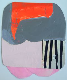 "Team Stripe #2, collage on paper, 13""x16"", 2013.  Sarah Boyts Yoder"