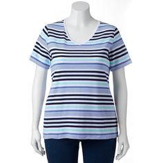 Plus Size Croft & Barrow® Print Asymmetrical-Hem Tee, Women's, Size: 1XL, Blue (Navy)