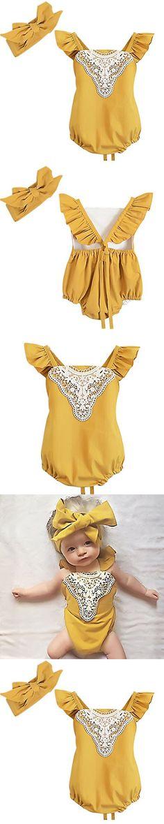 Baby Girls Romper Sunsuit Jumpsuit with Headband, Yellow (9M)