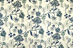 NEW FABRIC!!! - Blue Indienne fabric floral aqua sea green handprint - A blue Indienne fabric. A blue floral Indienne fabric with touches of sea green. This handprint is reminiscent of Provence fabrics from the south of France. #fabric #sewing #indienne #floral #aqua #handprint #blue #paisley #upholstery #decor #decorating #homedec #french