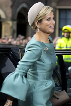 Queen Máxima, Nov. 30, 2013 |   blue dress gown  wide sleeves   netherlands. bell sleeve kingdom anniversary