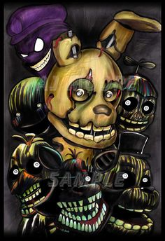 \'Phantom Animatronics\'  -  Five Nights at Freddy\'s 3 By Artist AJ Moore Medium: Markers (Prisma) Size: 13\