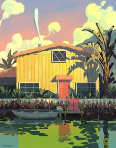 Garrett is an illustrator working in animation in Los Angeles. He enjoys plein air painting in gouache and photoshop. Environment Painting, Environment Concept Art, Environment Design, Animation Background, Art Background, Environmental Art, Landscape Art, Manga, Cool Art