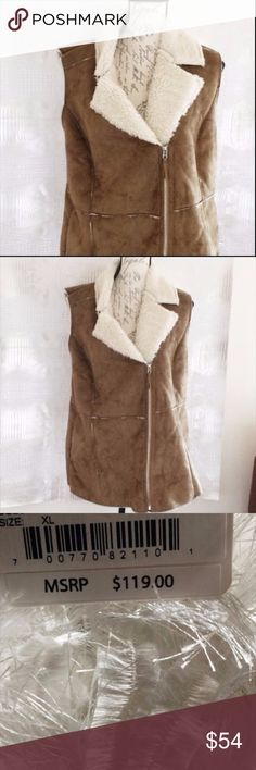 "Wildfower Faux Shearling Vest Moto NWT $119 Pricetag still on it. Color Camel. 28"" long. True to size. Faux microsuede and faux shearling. Wildflower Jackets & Coats Vests"