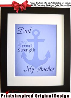 Fathers Day: Personalized Custom Anchor Art Print, Gifts For Dad Choose Colors Gift From Daughter Son To Dad Daddy Wall Art Home Decor by Printsinspired on Etsy https://www.etsy.com/listing/151136364/fathers-day-personalized-custom-anchor
