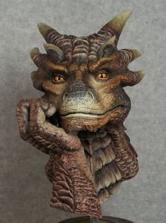 "Here is a Dragonheart ""Draco"" bust I painted. Bust is around 7"" tall."