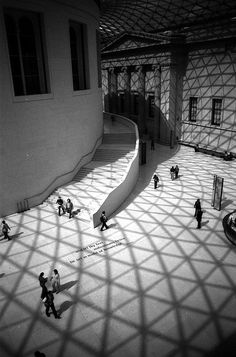 Norman Foster's glass domed Great Court at the British Museum- light shadows
