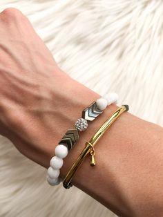 White Jade with Gold Chevron – Madison+Barrett Hematite Bracelet, Gold Chevron, White Jade, Beaded Bracelets, Sterling Silver, Jewelry, Jewels, Pearl Bracelets, Schmuck