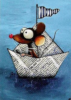 ACEO Print Watercolor Folk Lucia Stewart Mouse Newspaper Boat Sailing Sea | eBay