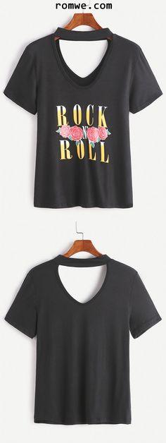 Black Cut Out Choker Neck Letter Print T-shirt
