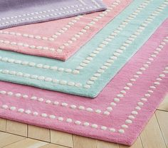 Pearl Dot Border Rug - Coral Pottery Barn Kids Friends and Family Sale