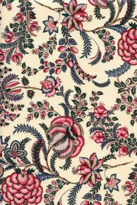 Large floral motif on a ecru base. cottonWidth of the fabric: The repeat pattern is 30 cm. This indienne fabric is available in other colours and . Textile Patterns, Textile Prints, Textile Design, Print Patterns, Vintage Flowers Wallpaper, Fabric Wallpaper, Indian Textiles, Vintage Textiles, Jacobean Embroidery